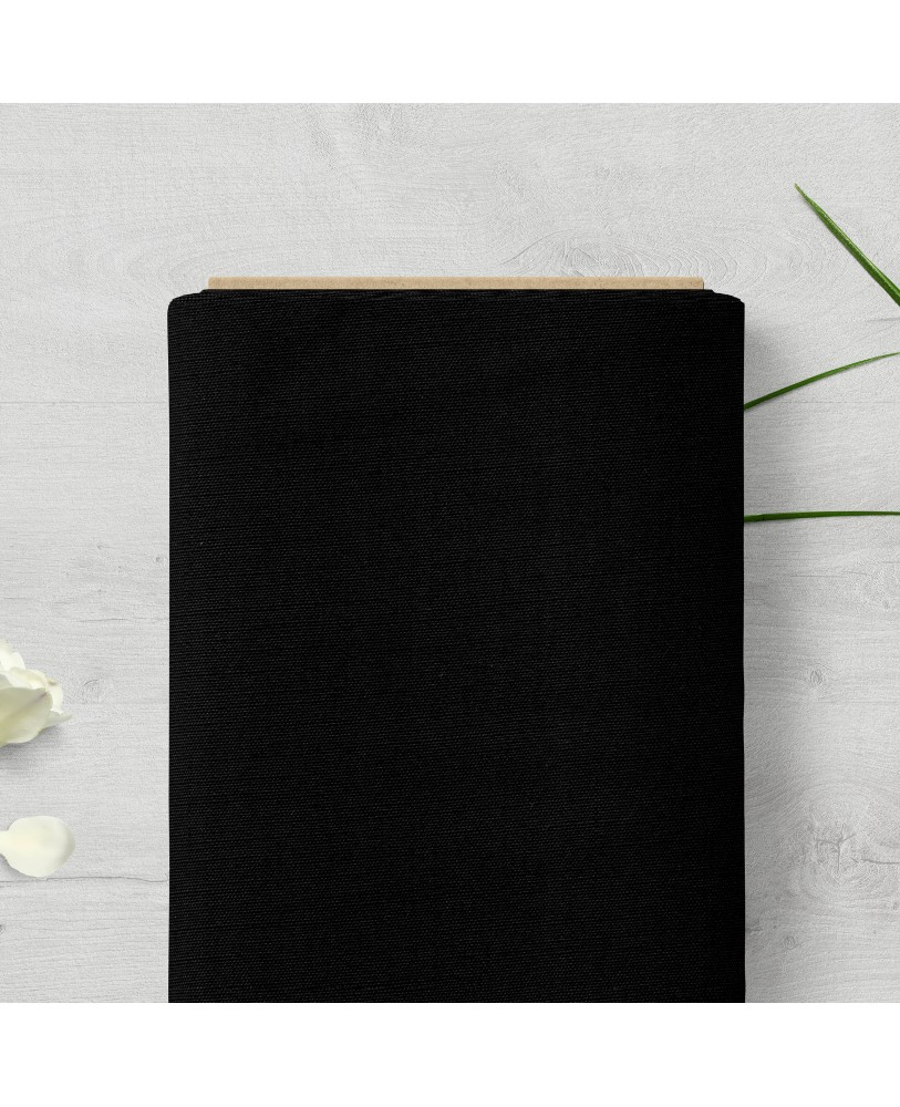 Black Solid Color Cotton Curtain Fabric