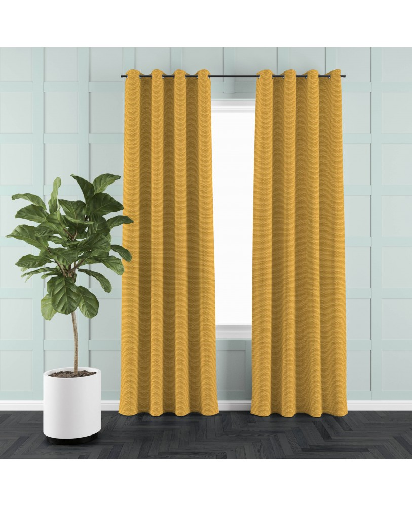 Yellow Solid Color Cotton Curtain( set of 2)