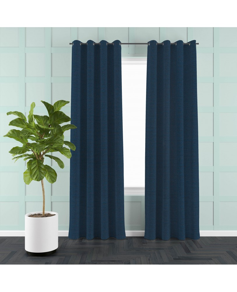 Navy Blue Solid Color Cotton Curtain( set of 2)