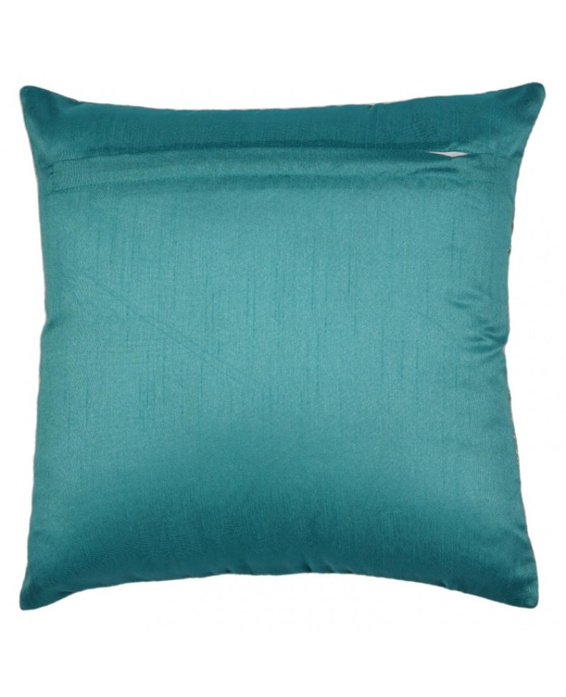 TEAL BLUE BASE WITH GOLD FOIL PRINT CUSHION COVER