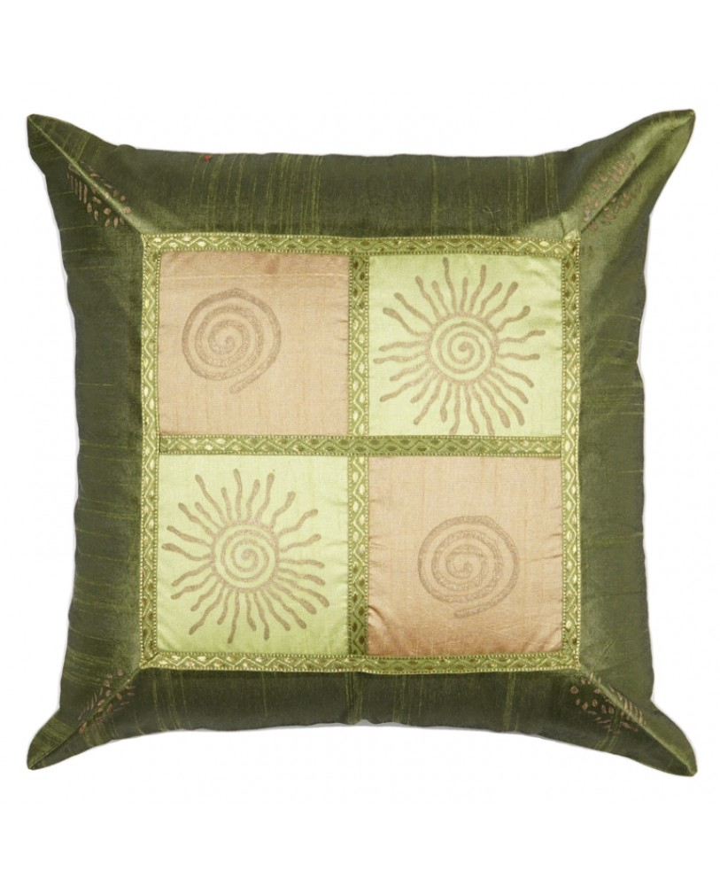 SHADES OF GREEN PATCH WORK DUPION CUSHION COVER WITH PRINT