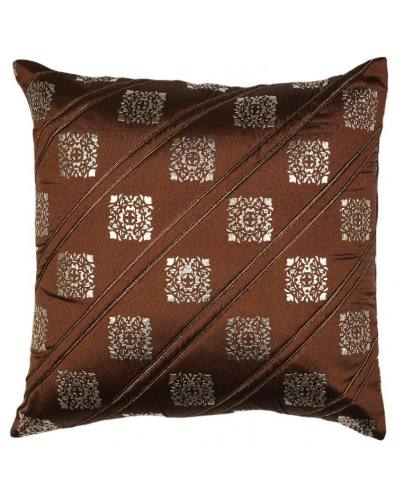 LIGHT BROWN BASE WITH GOLD FOIL PRINT CUSHION COVER