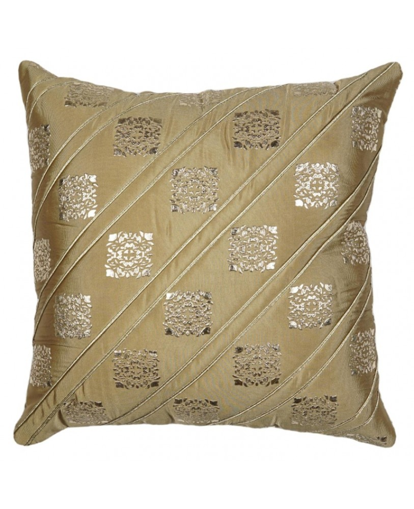 GOLDEN BASE WITH GOLD FOIL PRINT CUSHION COVER
