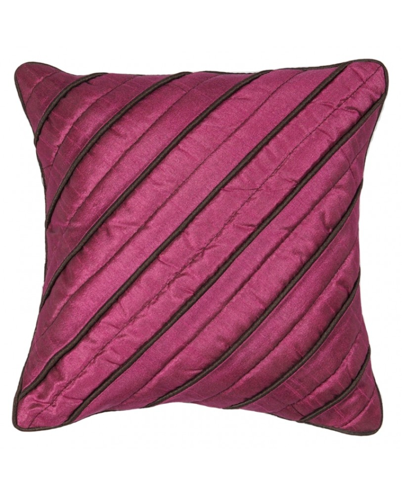 PURPLE DUPION CUSHION COVER WITH BROWN ROPE PIPING