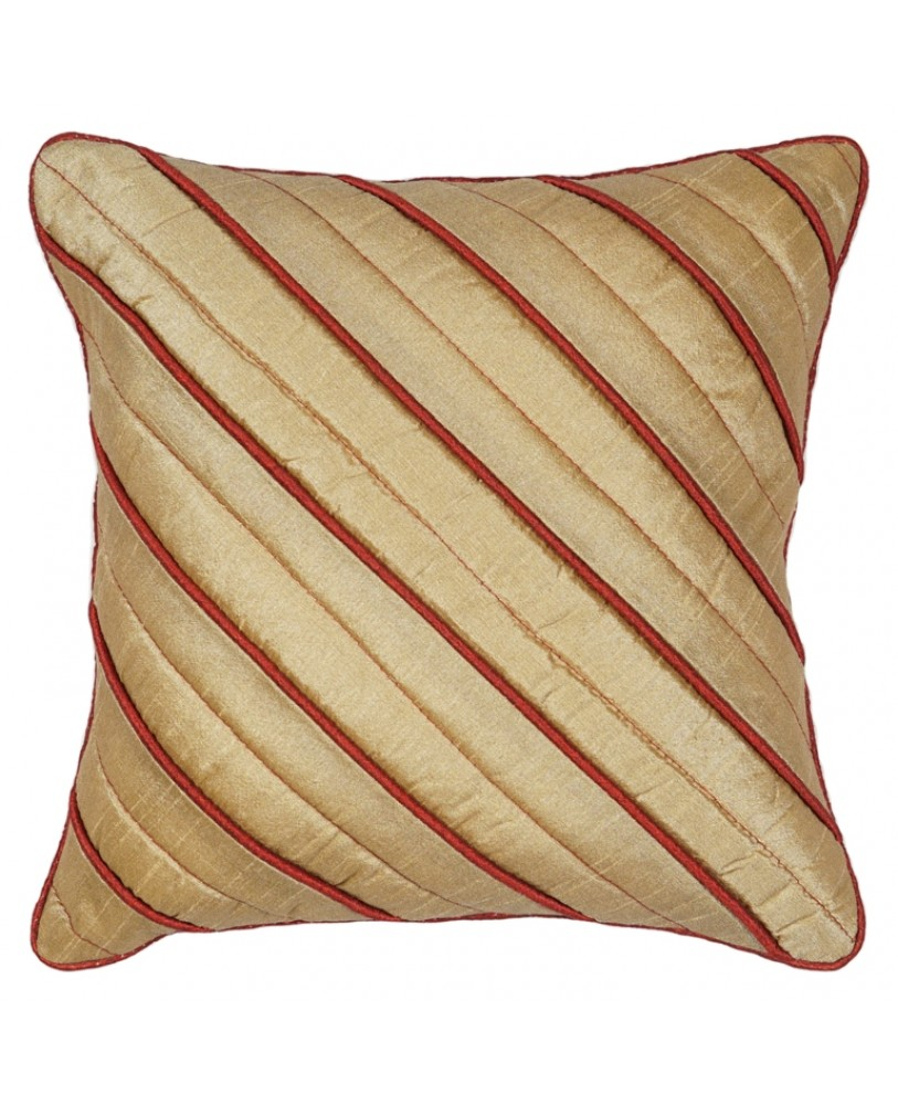 GOLD DUPION CUSHION COVER WITH RUST ROPE PIPING