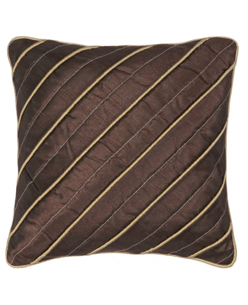 BROWN DUPION CUSHION COVER WITH GOLD ROPE PIPING