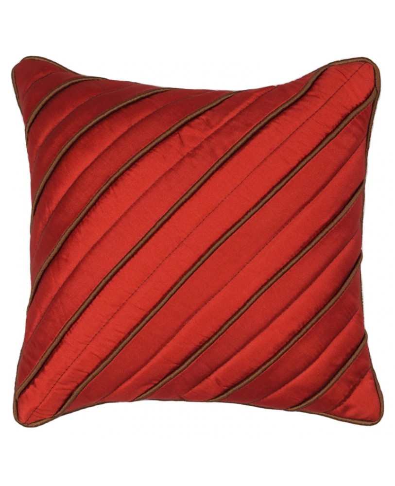 MAROON DUPION CUSHION COVER WITH BROWN ROPE PIPING