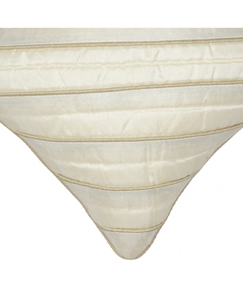 CREAM DUPION CUSHION COVER WITH BEIGE ROPE PIPING