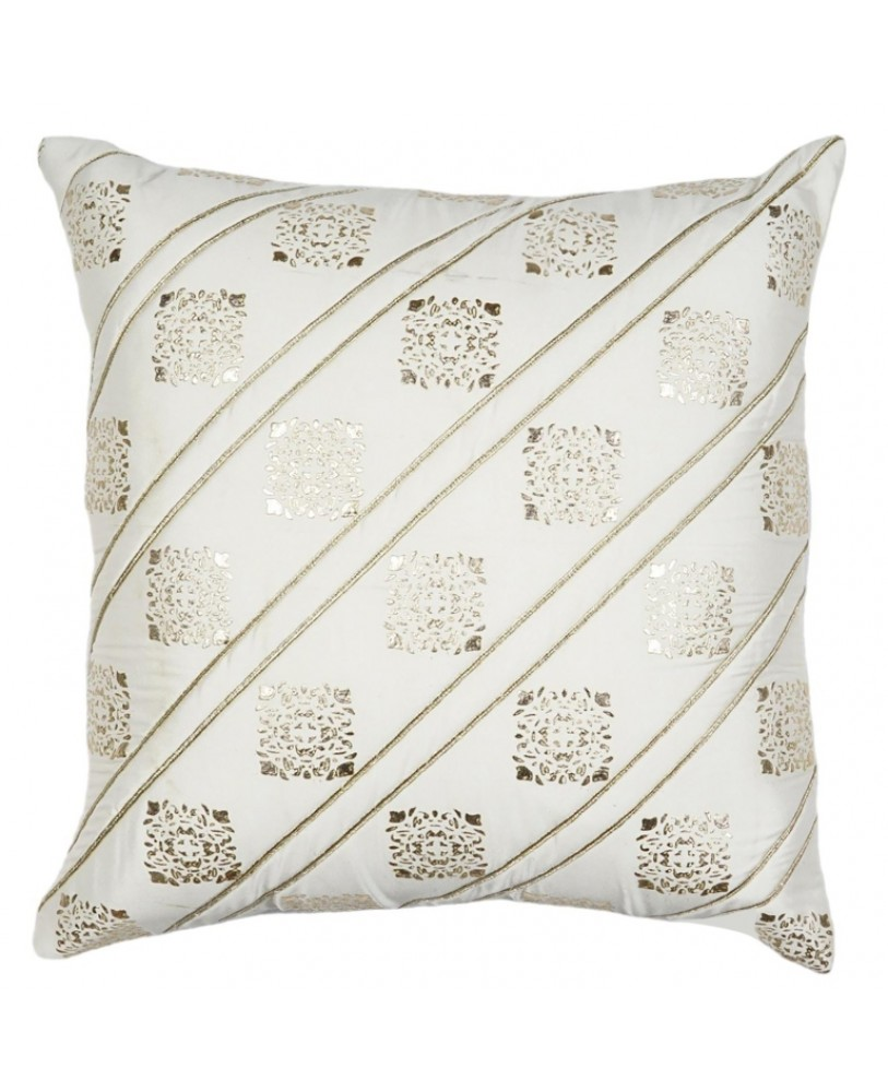 WHITE BASE WITH GOLD FOIL PRINT CUSHION COVER