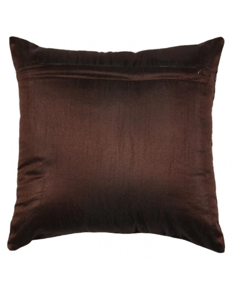 DARK BROWN BASE WITH GOLD FOIL PRINT CUSHION COVER