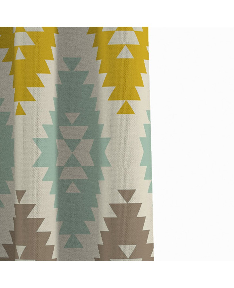 Printed Fusion Yellow Blue and Cream Cotton Eyelite Curtain