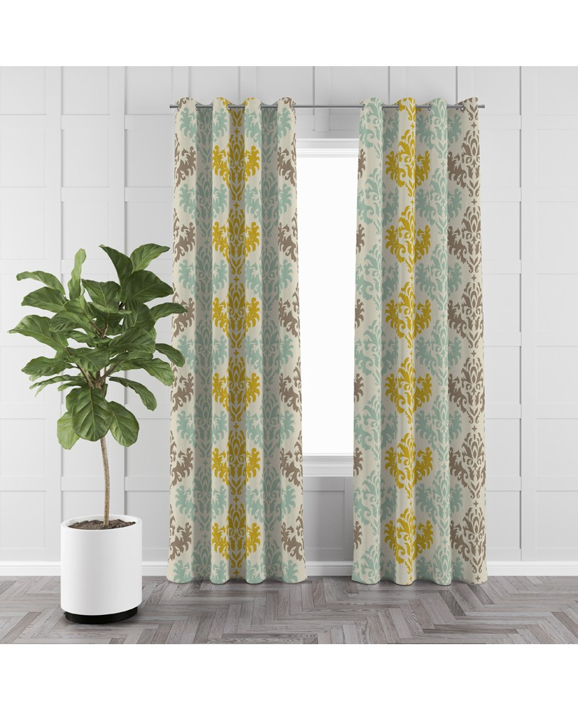 Printed Damask Yellow Blue and Cream Cotton Eyelite  Curtain
