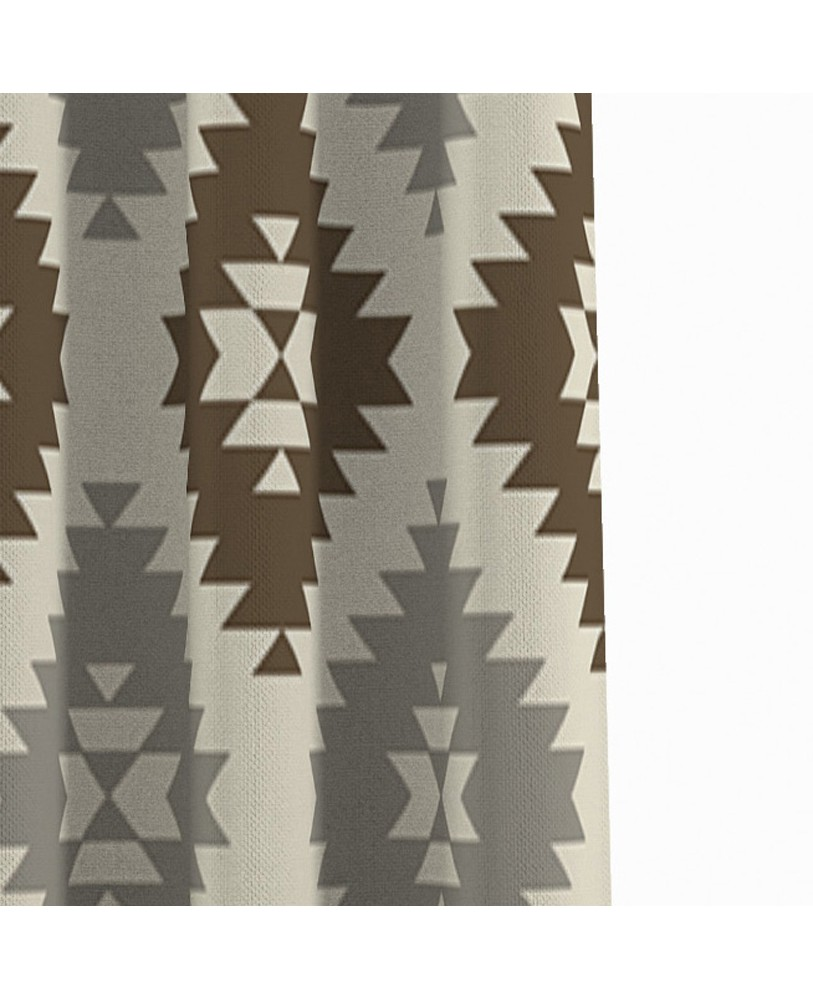 Printed Fusion Beige Brown and Cream Cotton Eyelite Door Curtain