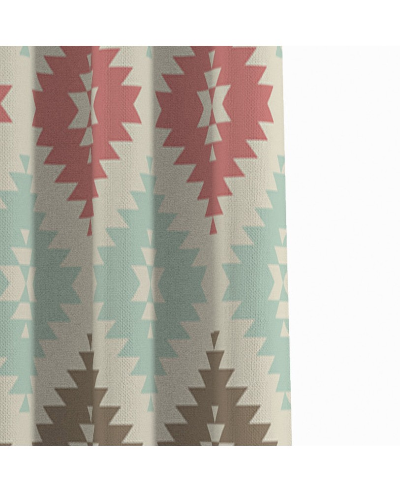 Printed Fusion Pink Blue and Cream Cotton Eyelite Door Curtain