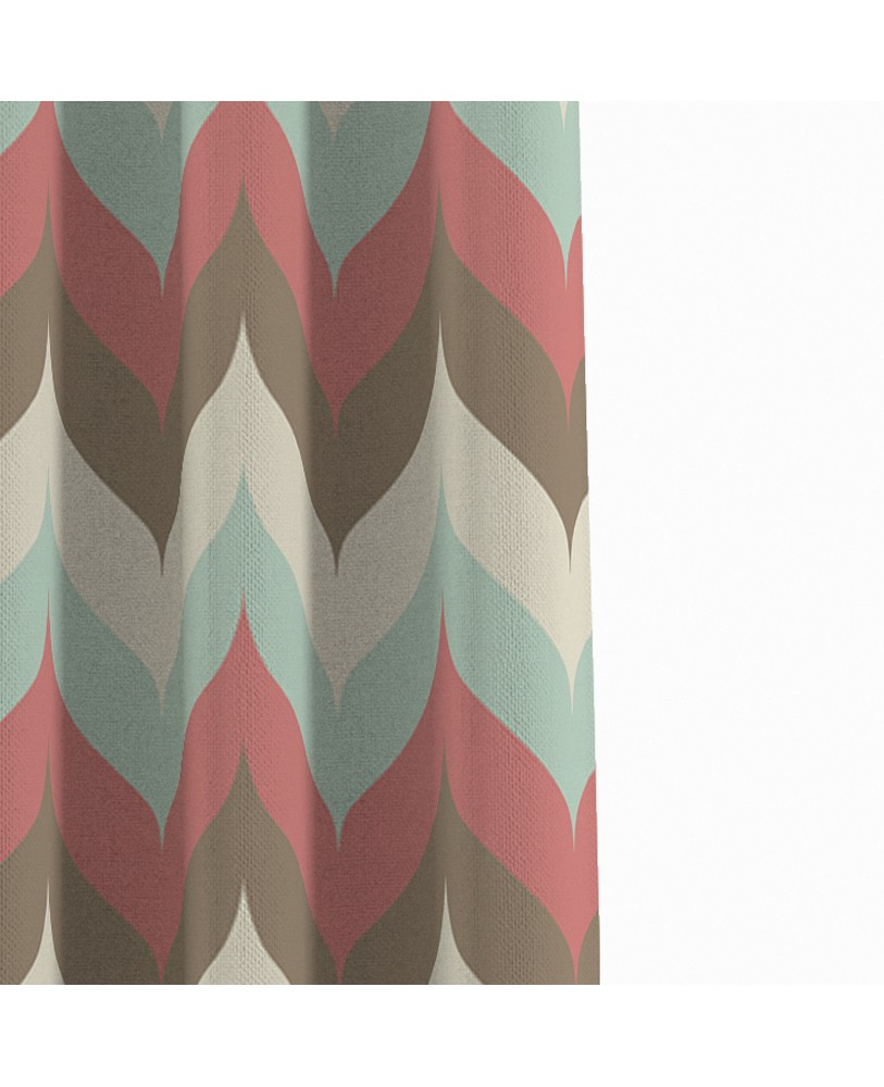 Printed Pink Blue Cream Cotton Eyelite Door Curtain