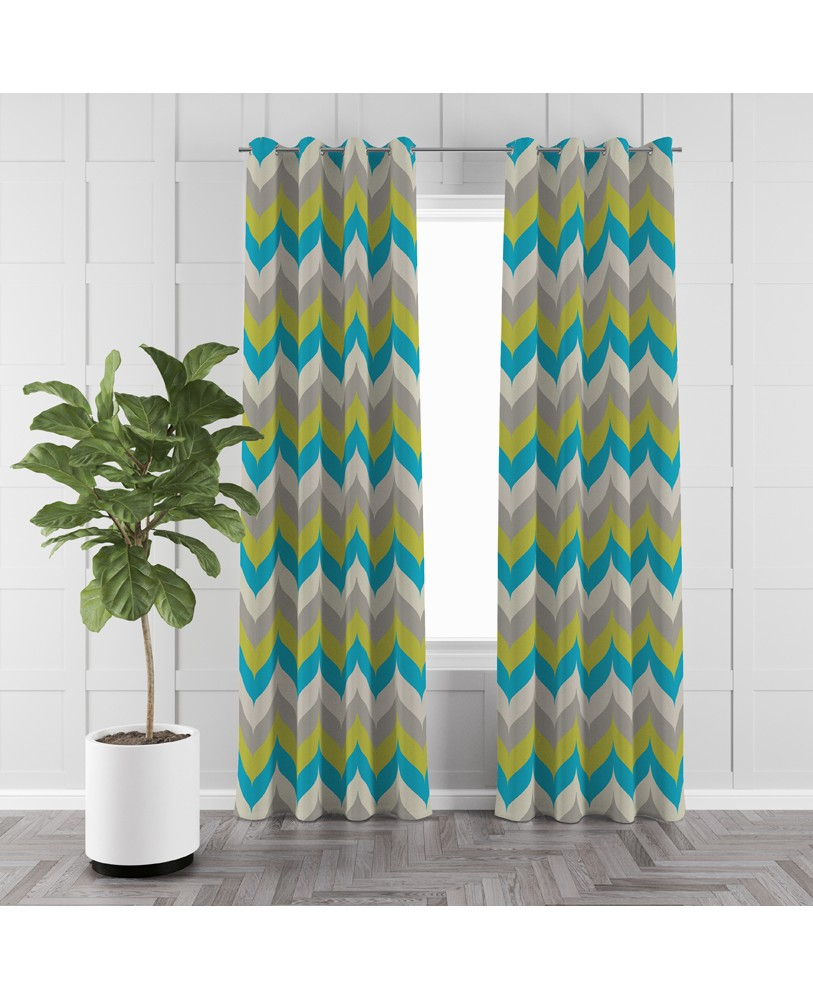 Printed Green Blue Cream Cotton Eyelite Door Curtain