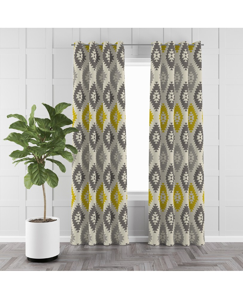Printed Yellow Grey Beige Off White Cotton Eyelite Door Curtain