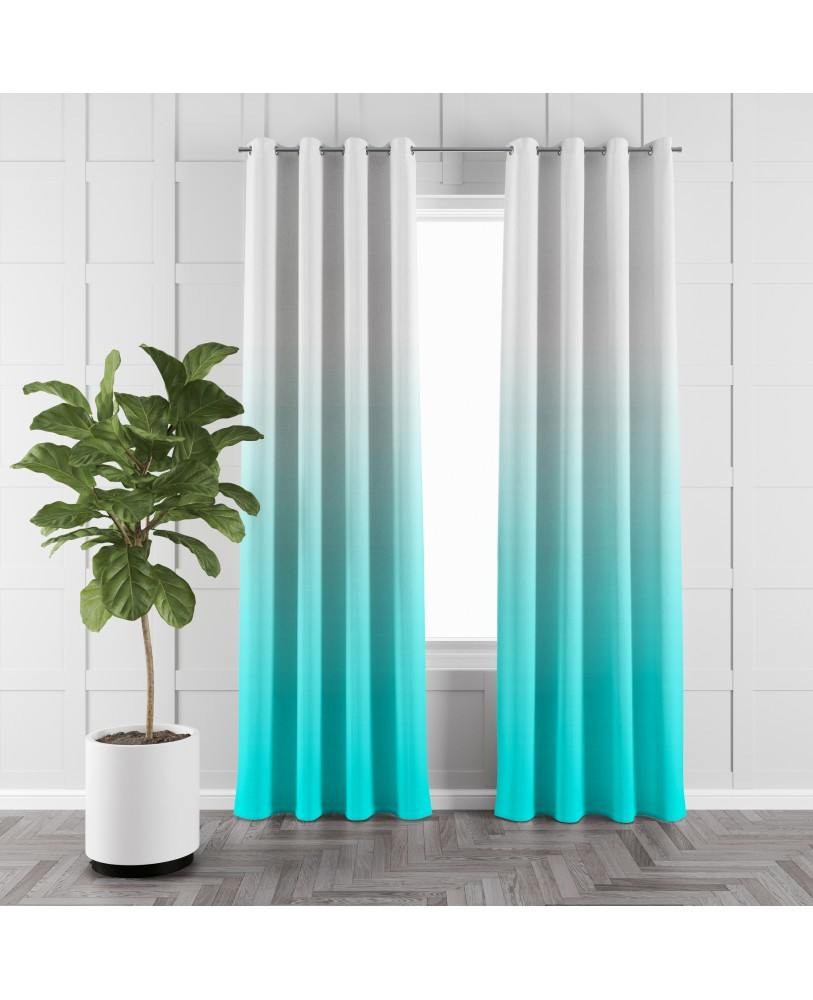 Blue and White Ombre Eyelet Curtains ( Set of 2)
