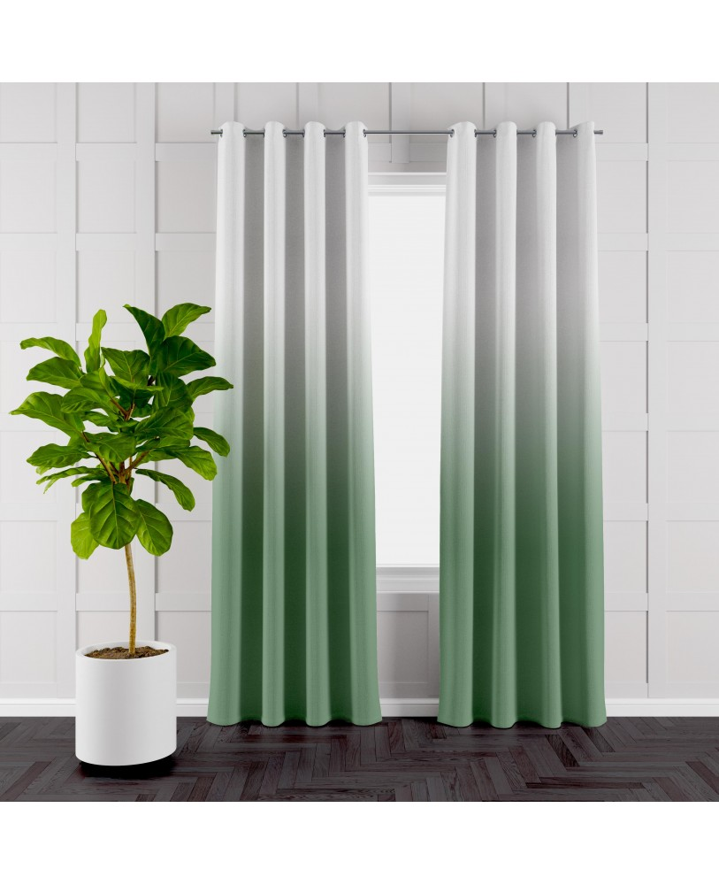 Green and White Ombre Eyelet Curtain