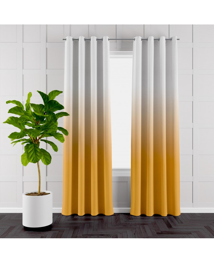 Orange and White Ombre Eyelet Curtains ( Set of 2)