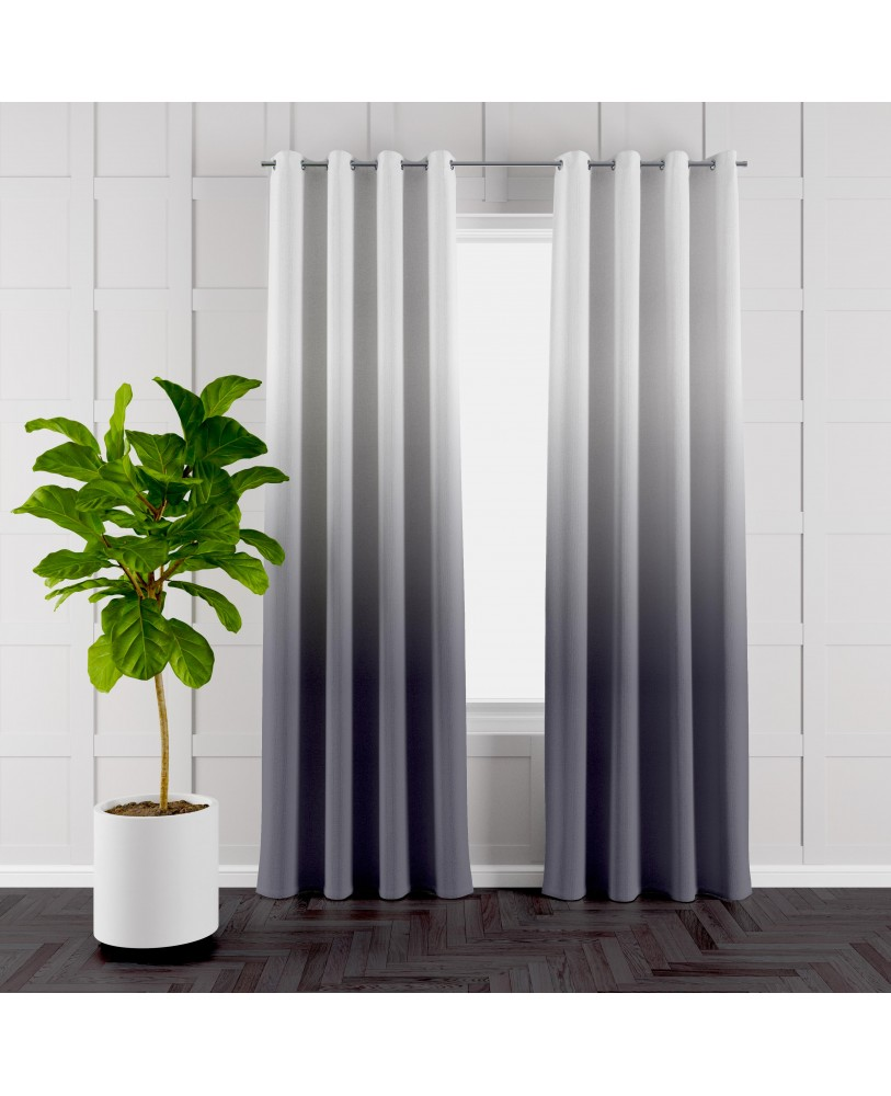 Davy's Grey  and White Ombre Eyelet Curtains ( Set of 2)