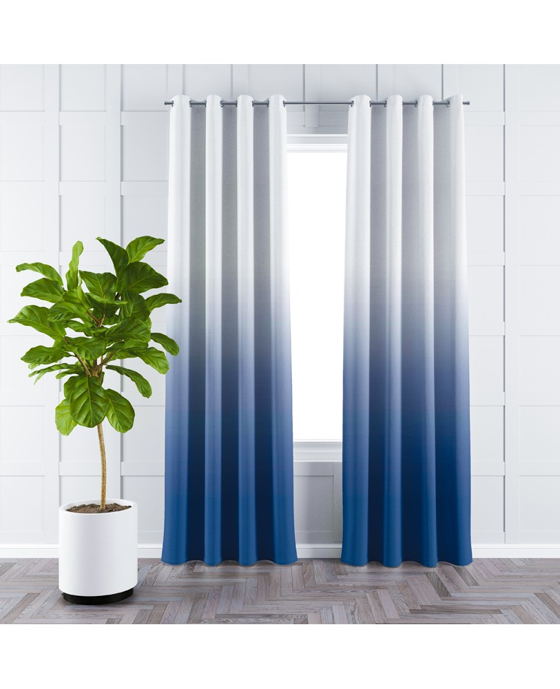 Dark Blue and White Ombre Eyelet Curtain
