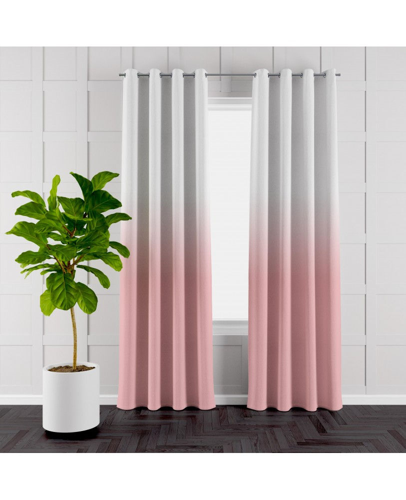 Pale Red and White Ombre Eyelet Curtain