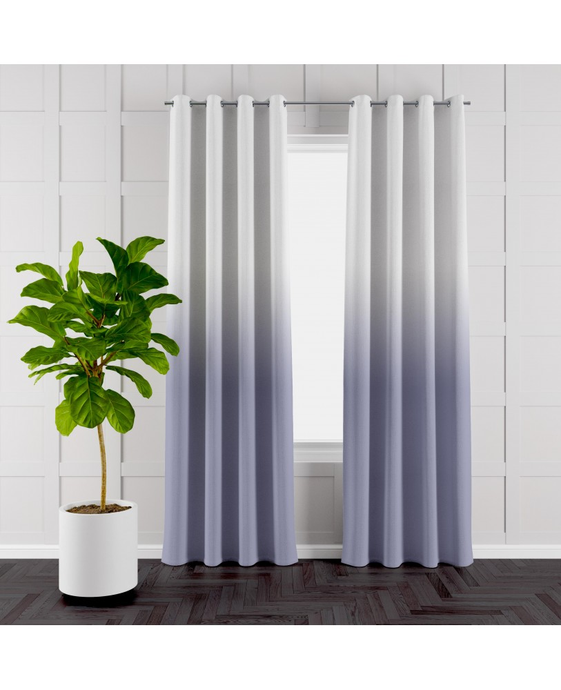 Cool Grey and White Ombre Eyelet Curtains ( Set of 2)