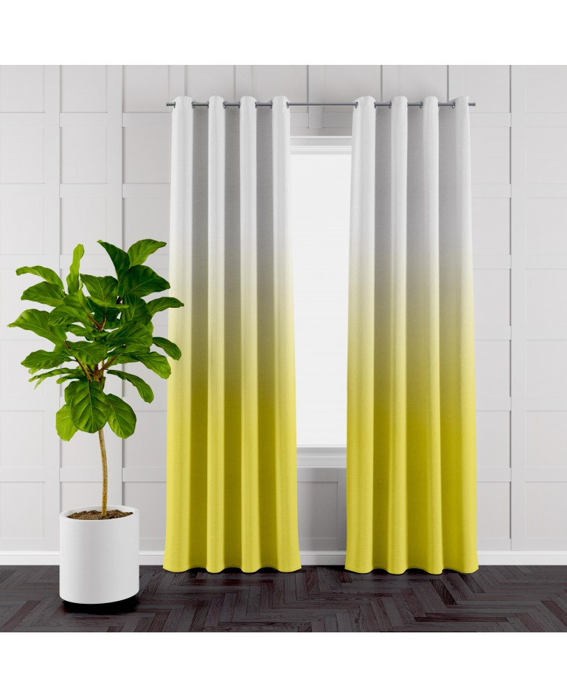 Yellow and White Ombre Eyelet Curtains ( Set of 2)