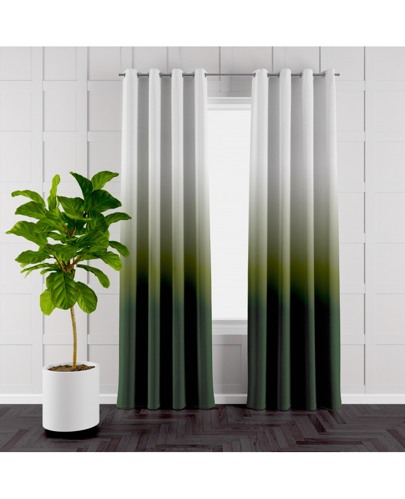 Dark Green and White Ombre Eyelet Curtains ( Set of 2)