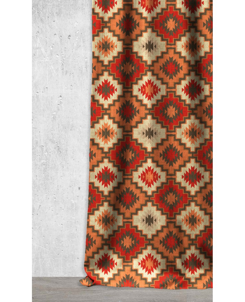 Red Rust Brown Abstract Printed Pattern AZTEC-06 Upholestry fabric