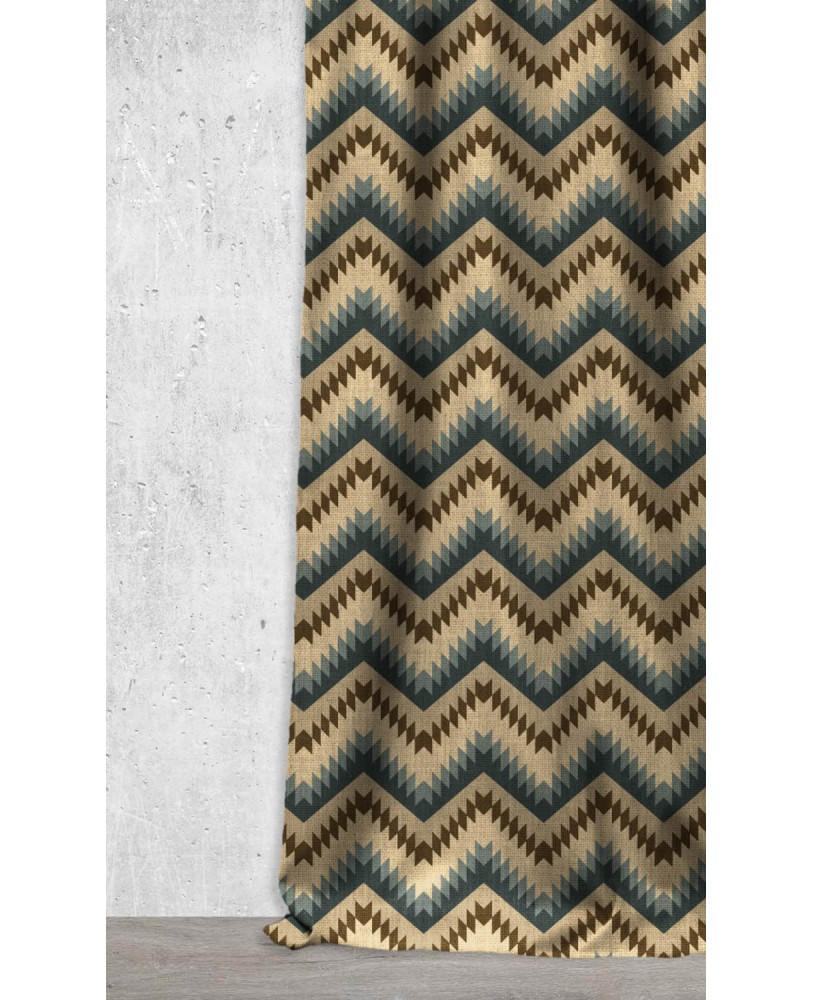 Navy Blue Brown Zig Zag Design Printed  AZTEC-43 Upholstery fabric