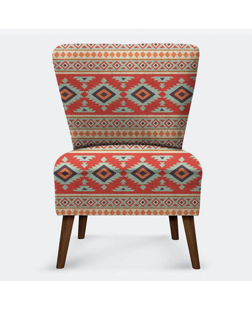 Teal Red Ikat Printed Pattern AZTEC-12 Upholestry fabric