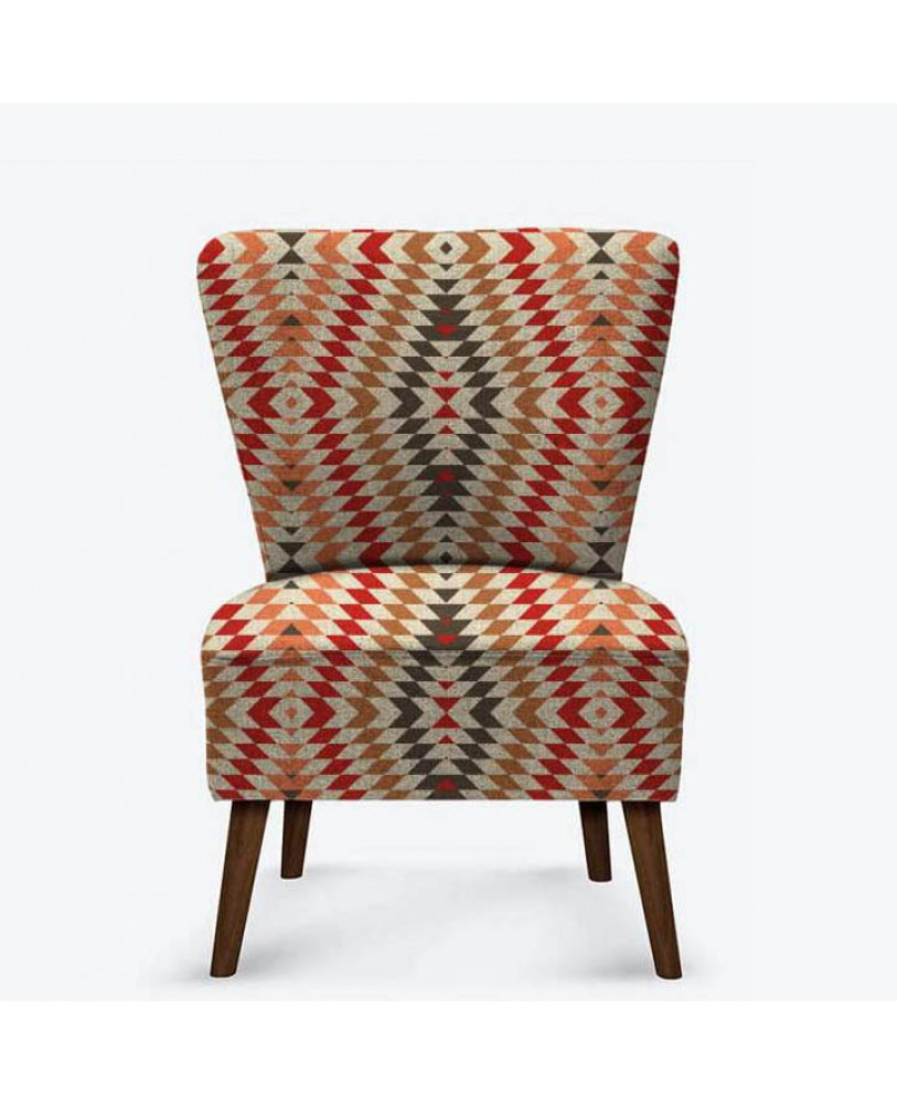 Rust Brown Abstract Printed Pattern AZTEC-02 Upholestry fabric