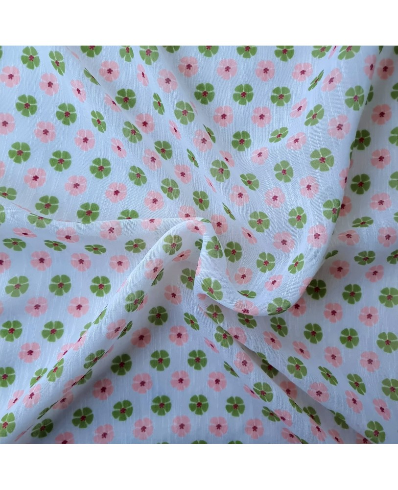 Green and Pink Small Flower Printed Sheer By Linens Studio